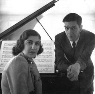 Maro Ajemian - Maro Ajemian (left) and composer John Cage.