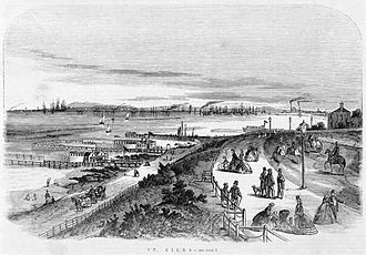 St Kilda, Victoria - Early lithograph (1864) of St Kilda main beach looking toward west beach and Port Melbourne