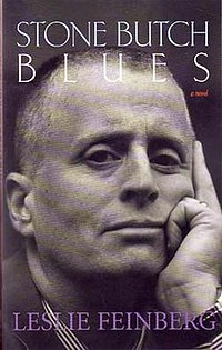 The front cover of Alyson Books' 2004 paperback edition of Stone Butch Blues