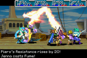 Golden Sun: The Lost Age - A battle at sea showcases four of the main characters. Characters' vital statistics are listed along the top of the screen.