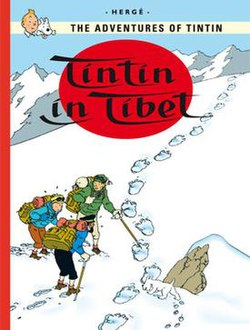 Tintin, Snowy, Haddock, and Tharkey are hiking up a snowy mountainside, one of whom points out large animal tracks in the snow.