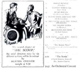 The Scoop and Behind the Screen - The billing from the Radio Times issue of 11–17 January 1931, illustrating Agatha Christie's broadcast of her second chapter of The Scoop.