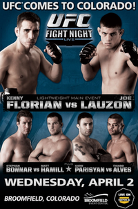 A poster or logo for UFC Fight Night: Florian vs Lauzon.