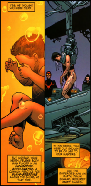 Vulcan (Marvel Comics) - Vulcan's infant body is aged to adolescence through the Shi'ar incubation-accelerator. Art by Trevor Hairsine.