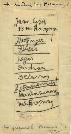 A list written by Pablo Picasso of European artists to be included in the 1913 Armory Show, 1912. Walt Kuhn family papers, and Armory Show records, Archives of American Art, Smithsonian Institution