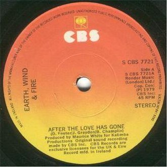 """After the Love Has Gone - A record of the single """"After the Love Has Gone""""."""