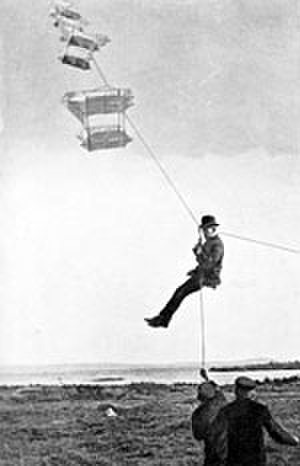Man-lifting kite - Roald Amundsen, the polar explorer, is lifted from the ground using a man-lifting kite during tests in 1909.