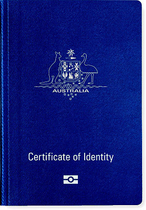 Australian Certificate of Identity - The front cover of a contemporary Australian biometric Certificate of Identity