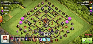 Clash of Clans - A replay of gameplay, where a player is attacking another player's village