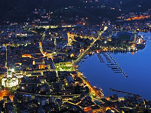 Aerial view of the City of Como at night