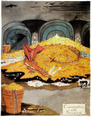 "Smaug - ""Conversation with Smaug"" as illustrated by J. R. R. Tolkien"