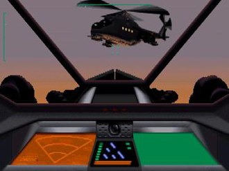 Cyberia (video game) - Zak using the mercenary rig's gun turrets to shoot down Cartel ships