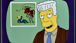 "A scene of news anchor Kent Brockman announcing his surrender due to the belief that Ants taking over the world. This scene inspired the ""Overlord meme"" which uses the scene to mimic entities taking over the world."