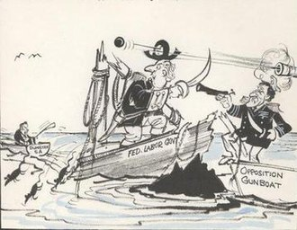 Don Dunstan - 'Dunstan to dump Whitlam for SA poll', political cartoon by Stewart McCrae. The state election win was only possible by Dunstan (pictured in the row boat) distancing his government from the Commonwealth.