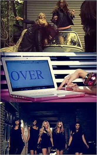 """Forever Is Over - A frame of The Saturdays in the music video for """"Forever Is Over"""", Top image showing some of the band dancing in the car. Second image show Una delete the L off Lover to make Over and the end image showing all the band leave the club."""