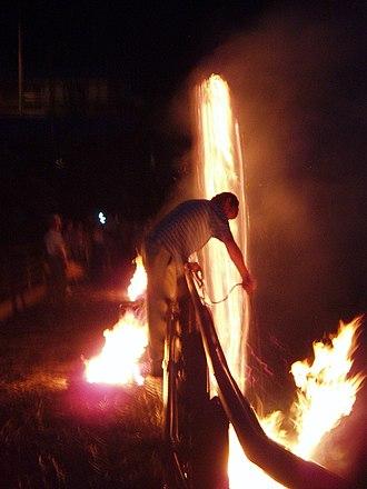 Nanmoku, Gunma - Nanmoku's fire-spinning festival, hitoboshi.