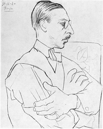 Stravinsky as drawn by Picasso in Paris on 31 December 1920 Igor Stravinsky as drawn by Pablo Picasso 31 Dec 1920 - Gallica.jpg