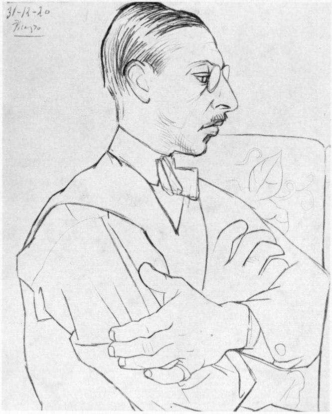 Igor Stravinsky as drawn by Pablo Picasso 31 Dec 1920 - Gallica