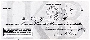 Zone de Sensibilité Picturale Immatérielle - A cheque used to certify the purchase of a Zone de Sensibilité Picturale Immatérielle. This copy was bought by Jacques Kugel December 7, 1959