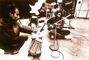 Junoon (band) -  Junoon, during its early days, rehearsing before a concert. Visible from left to right are; Ustad Ashiq Ali Mir and Salman Ahmad.