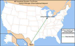 Destinations served fromGary/Chicago International Airport(As of July 2008)