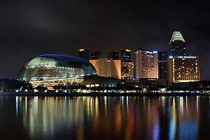 Marina Bay and Marina Centre at night.