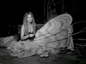 "No (Shakira song) - Shakira making butterfly wings in the music video for ""No"""
