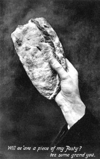Pasty - An old postcard from Cornwall showing a partly eaten pasty