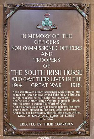South Irish Horse - Memorial to the fallen of the South Irish Horse in World War I at St Patrick's Cathedral, Dublin