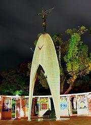 Children's Peace Monument with the statue of Sadako holding a golden crane