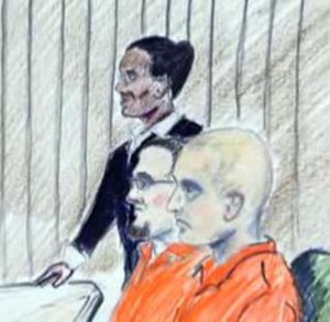 Barack Obama assassination plot in Tennessee - A court drawing of the first hearing and not guilty pleas of Paul Schlesselman (middle) and Daniel Cowart (right)