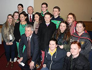 Sinn Féin Republican Youth - Sinn Féin Republican Youth members with Sinn Féin Vice-President Mary Lou McDonald and Deputy First Minister Martin McGuinness at Máirtín Ó Muilleoir's Westminster election launch in February 2015.