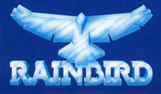 Telecomsoft - The Rainbird Software logo, as seen against the blue box background used for most of their releases