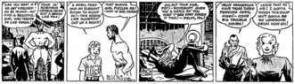 Terry and the Pirates (comic strip) - Milton Caniff's Terry and the Pirates (February 29, 1936). Terry, a bare-chested, jodhpurs-clad Pat Ryan and Connie find themselves marooned on an island with the mysterious Burma. Note Terry's boyish appearance in this early strip and backgrounds alternating from dark and detailed to blank.