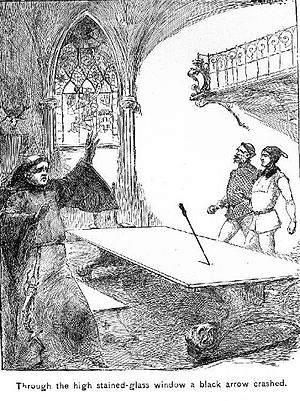 The Black Arrow: A Tale of the Two Roses - A crucial moment in the novel when Sir Oliver, Sir Daniel, and Dick Shelton are surprised by a black arrow in the Moat House refectory hall