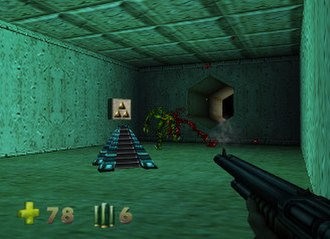 Turok 2: Seeds of Evil - The player is shooting at an enemy with the shotgun. In the middle of the room there is a level key that can be collected. Turok's health and ammunition are shown at the bottom left corner of the screen.