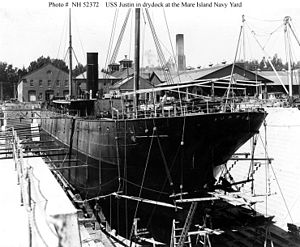 USS Justin (1891) - USS Justin (1898–1915) In drydock at the Mare Island Navy Yard, California, circa 1899–1900.