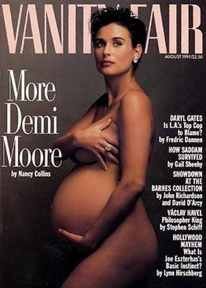 Pregnancy fetishism - The glamorization of pregnancy as represented in 1991 on the More Demi Moore cover of Vanity Fair.