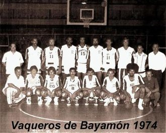 Vaqueros de Bayamón - 1974's team poster featuring the Vaqueros (Finals)