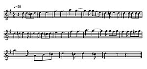 The Washington Post (march) - Opening (post-introduction) melodic line of the Washington Post March as written nominally in G major for a B-flat transposing instrument (key in concert pitch: F major)
