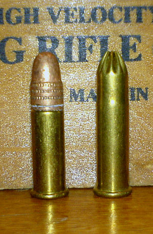Rat-shot - A regular Winchester .22 LR cartridge (left), with an old Winchester Ratshot cartridge (right).  The cartridge on the right contains round shot pellets