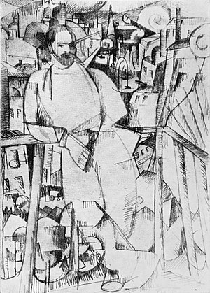 Man on a Balcony - Albert Gleizes, 1912 (spring), Dessin pour L'Homme au balcon, exhibited Salon des Indépendants 1912