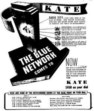 Blue Network - This 1944 advertisement, while it dates from after the sale by NBC of the Blue Network, shows how the Blue Network continued to have access to NBC facilities; in this case, the famed radio studios at Rockefeller Center in New York City