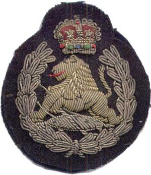 "British South Africa Police - Officer's cap badge of the BSAP, c. 1965, showing the ""wounded lion"" device."
