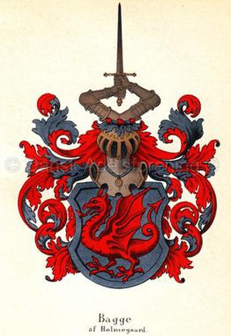 Bagge family - Coat of arms of Bagge af Holmegaard with lindworm charge.