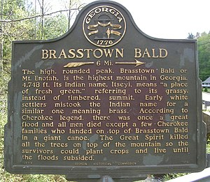Brasstown Bald - Image: Brasstown Bald Historical Marker 1