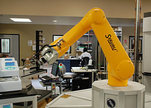 A robotic arm used in high-throughput screenin...