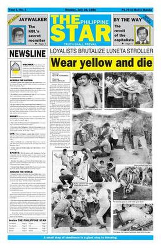 "The Philippine Star - The first issue of The Philippine Star with the headline, ""Wear yellow and die!"""