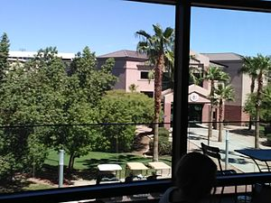 Grand Canyon University - Cypress Hall, one of seventeen residence halls, as viewed from the second floor of student union