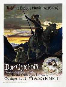 affiche de théâtre représentant Don Quichotte de Cervantès